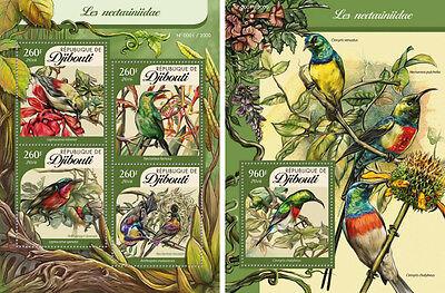 Dschibuti Sunbirds Vögel Tieren Fauna Mnh Stempelset
