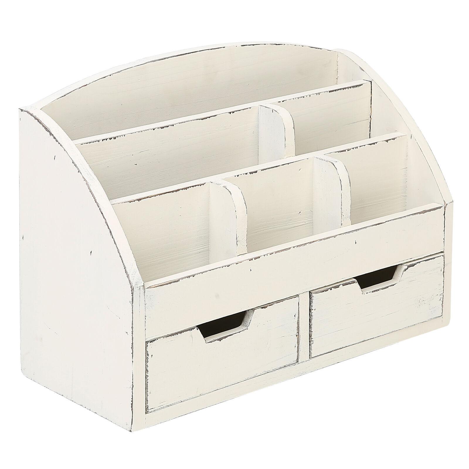 Mygift Vintage White Wood Desk Organizer 6 Compartment 2 Drawer Office Supplies Online Ebay