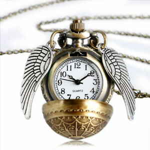 Steampunk-Pendant-Watch-Harry-Potter-Inspired-Filigree-Golden-Snitch-Necklace