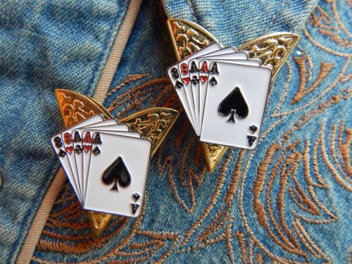 GOLD METAL,WESTERN MAGICIAN NEW PLAYING CARDS FULL HOUSE COLLAR TIPS a pair