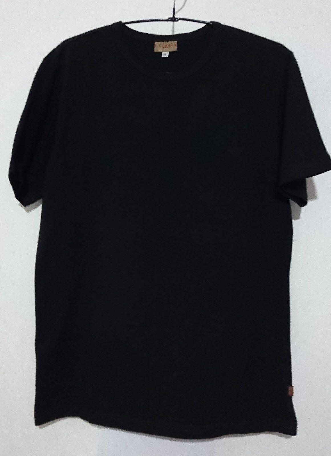RICHMOND T-hemd schwarz COTONE PELLE VINTAGE CON RICAMO SCRITTA RICH TAGLIA XL