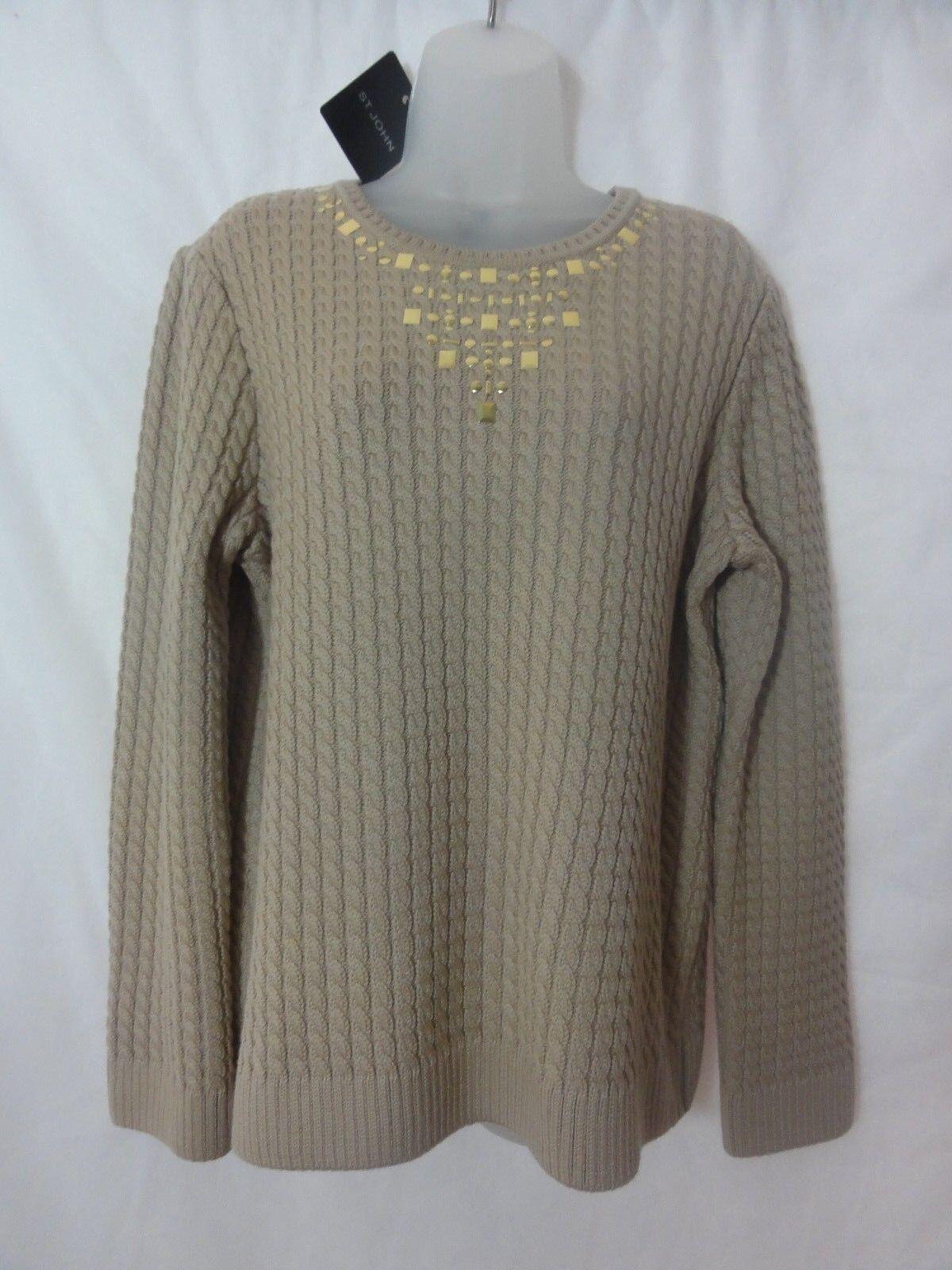 St. John Sport para Mujer  Suéter Tejido De Cable De Mezcla De Lana Beige Talla Grande Nuevo Con Etiquetas  755  Sin impuestos