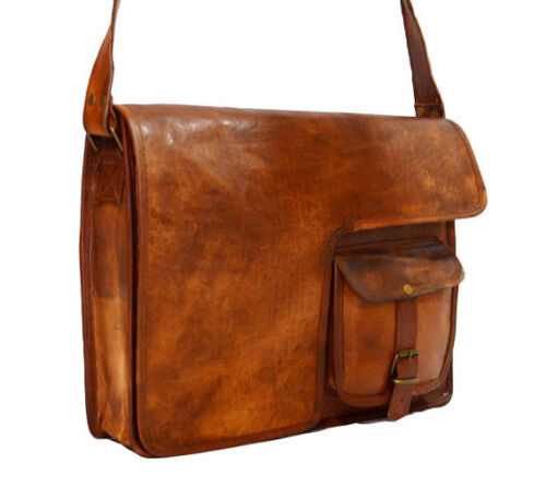 Men/'s Genuine Leather Vintage Laptop Messenger Carry On Briefcase Bag Satchel