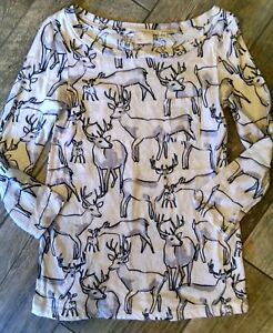 Anthropologie-Postale-Cotton-Knit-Top-Deer-Pattern-Small