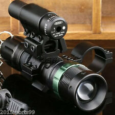Tactical Cree LED Zoomable Flashlight + Red Laser Sight + Rilfe Barrel Mount *
