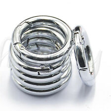 2pcs Round Clip Hook Mini Carabiner Keychain Keyring Camping Hiking 25mm Silver
