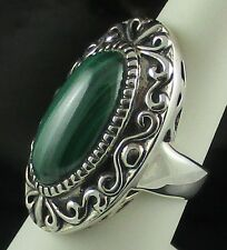 Malachite Sterling Silver Oval Decorative Border Ring - Size 6