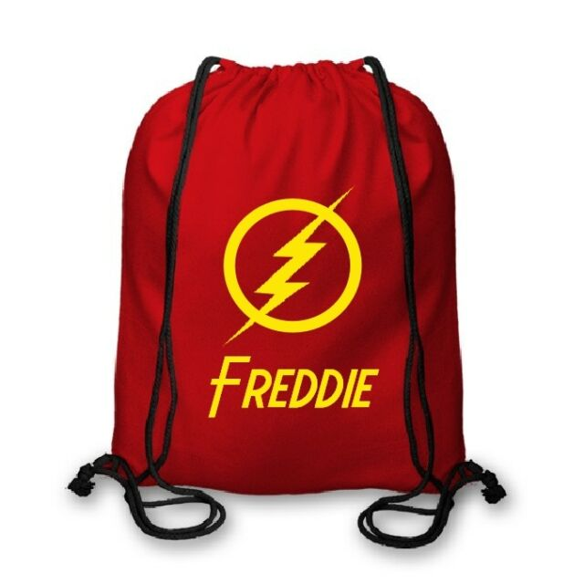 Funky Personalised Flash Superhero Kids Nursery PE School Cotton Drawstring Bag