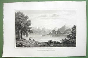 SWITZERLAND-Chateau-of-Scherylingen-Lake-Thun-1820-Antique-Print-by-Cpt-Batty