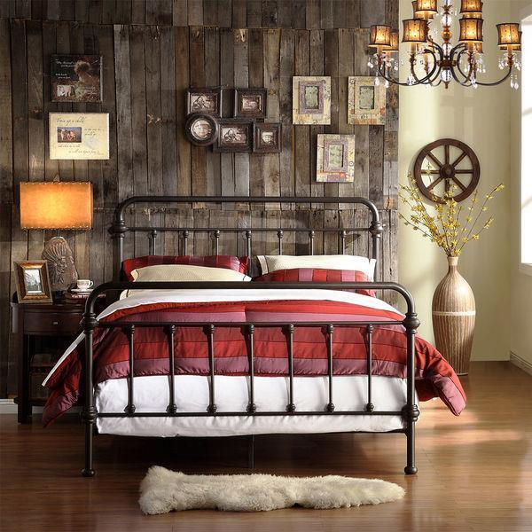 Queen Bed Iron Vintage Antique Rustic Victorian Metal Headboard
