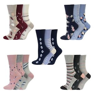 Pack of 3 Retro Floral pattern size 4-8 Ladies Gentle Grip socks