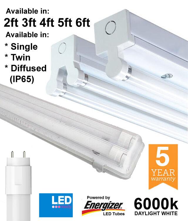 T8 LED Listón Accesorios sencillo, doble y IP65 2ft 4ft 5ft 6ft con tubos Energizer