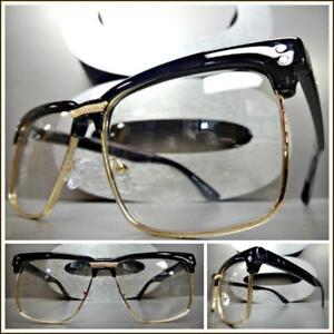 89277b5cc5 Details about Men s Classy Retro Style Clear Lens EYE GLASSES Square Rose  Gold   Black Frame