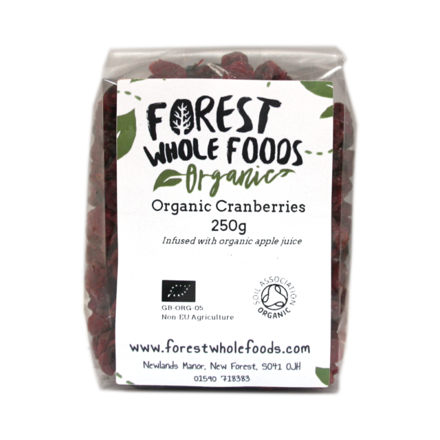 Forest Whole Foods Organic Dried Cranberries ( UK Delivery) 250g