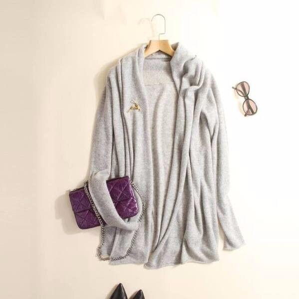 High end quality 100% pure cashmere elegant cardigan, grey. s, oversized design