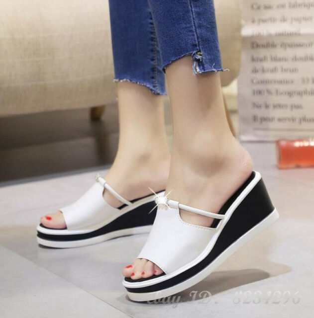 2018 Summer Outdoor Sandals Womens Shoes Mules Peep Toe Wedge PU Leather Shoe
