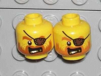 LEGO NEW LIGHT FLESH MINIFIGURE HEAD BEARD WITH CHINSTRAP EYEPATCH ANGRY