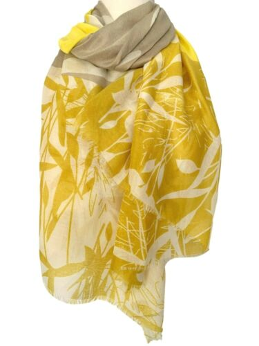 Yellow Scarf Ladies Mustard Beige Bamboo Leaves Print Leaf Large Floral Wrap