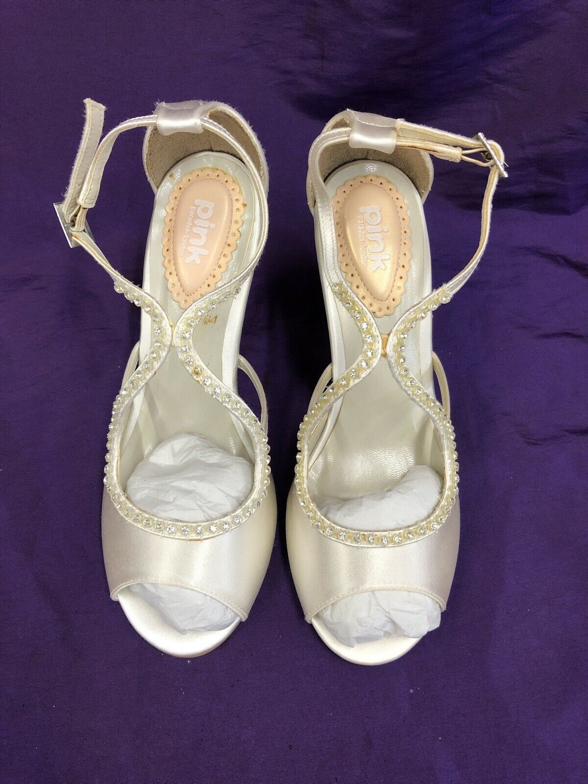 Pink Paradox Ivory Peep Toe Diamanté Satin Heels UK size 3 - Wedding Occasion