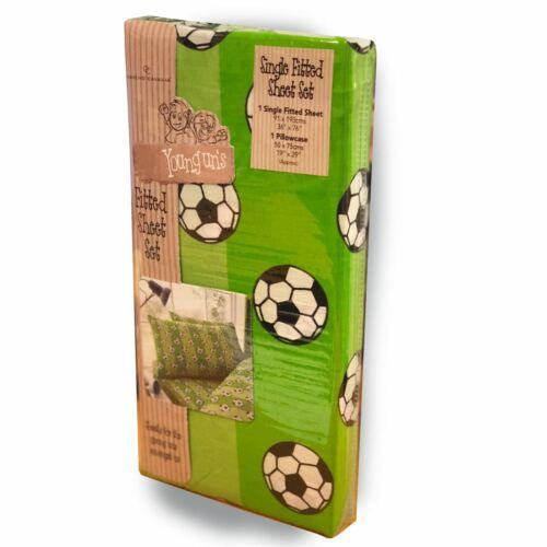Tor Fußball Einzel Bettlaken /& Kissenbezug Set Bettwäsche Jungen Grün