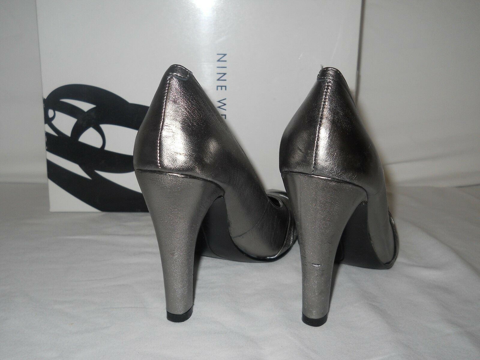 Nine West NEU Store Display Damenschuhe Shamira Pewter Leder Heels 5.5 M Schuhes