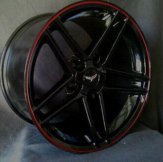 "Black Z06 Style W/ Pinstriped red lip Corvette wheels (4) 17x9.5""  C4 1988-1996"