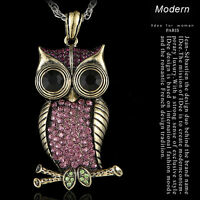 BIG Eye Owl Full Crystal Pendant Sweater Necklace Long Chain Women' jewelry GIFT