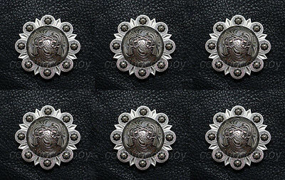 """Set of 6 WESTERN HORSE TACK HEADSTALL ANTIQUE PISTOLS CONCHOS 1-1/2"""" screw back"""