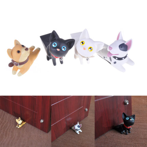 Creative Dog Cat Door Stopper Holder PVC Safety Baby Figure Toys Home Decor WL