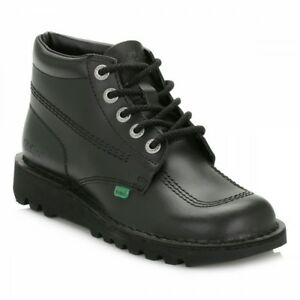 Kickers Kick Hi unisex junior Black Leather Ankle Boots,UK Sizes 3/4/5/6/6.5/7/<wbr/>8