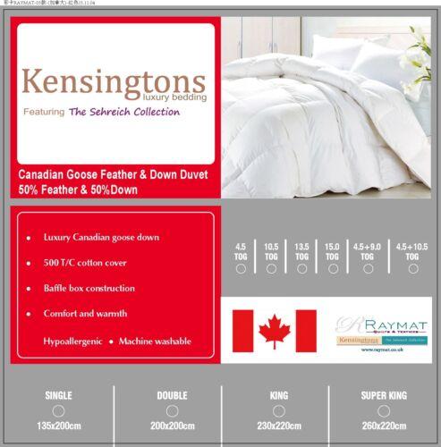 Kensingtons® Canadian Goose Down & Feather Duvet Comforter Bed Quilt 700 Power