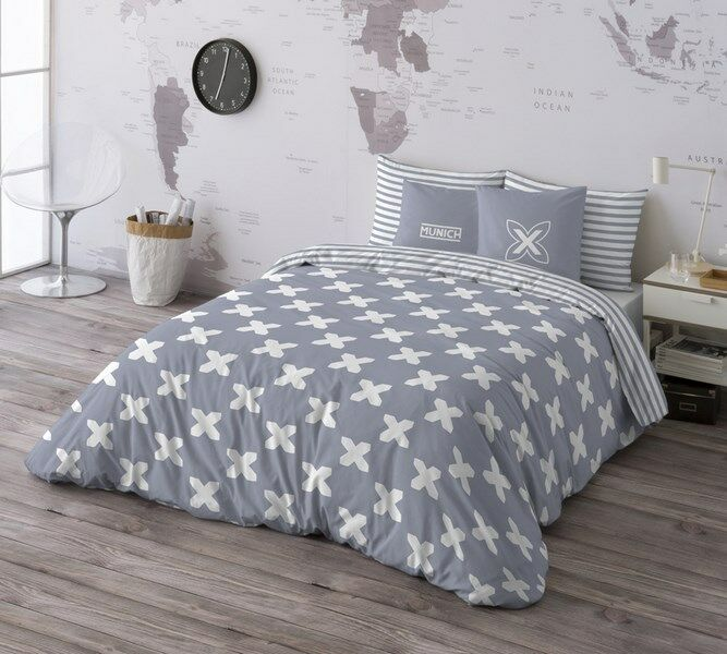 Munich Funda nórdica cama Evo grau + funda almohada 100% algodón  Duvet cover