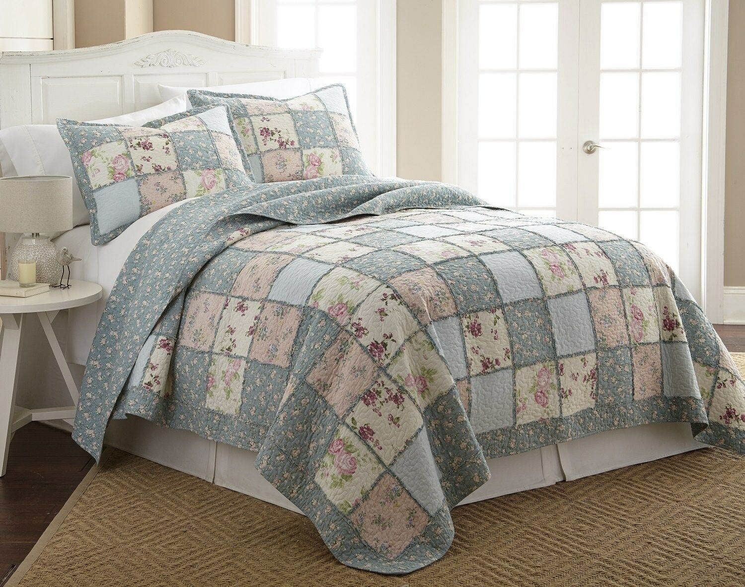 3-Piece Floral Vintage Washed 100%-Cotton Reversible Patchwork Quilt Set King
