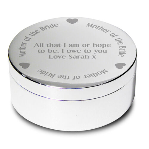 PERSONALISED Engraved TRINKET BOX Thank You WEDDING Day Present GIFT for Her