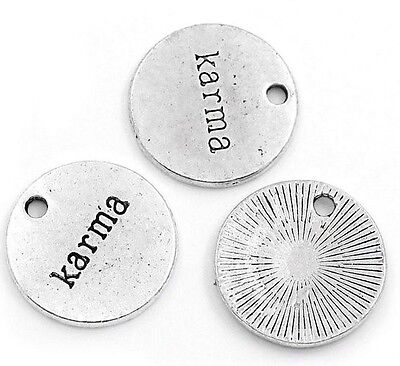 Word Charms Antiqued Silver Charms KARMA Charms Pendants 20mm NEW