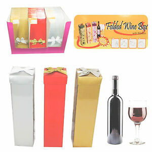 Details About Luxury Folding Wine Bottle Box Gift Pack Carrier Christmas Wedding Party Uk