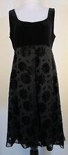 Jessica Howard Dress 12 Black Empire Waist Velvet Floral Daisies Stretch #6117