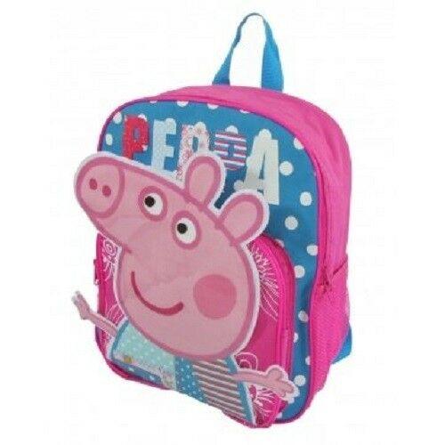 Peppa Pig Cartoon Girls Cute Pink Large School Backpack Book Bag Kids Children