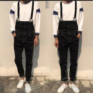 ec232811b17 Mens Retro Black Denim Slim Fit Overalls Jeans Jumpsuit Suspenders ...