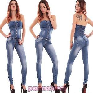 Skinny Donna fascia Overall H562 Elastica Salopette a Nuova Tuta Interra Tuta ApOWpZf