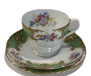Shelley-Bone-China-Green-Empress-3-Pc-Tea-Cup-Saucer-amp-Dessert-Plate-Vintage