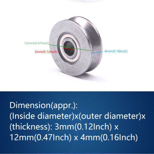 """20pc /""""V/"""" Groove 12mm Round Steel Wheel Pulley Bearing Roller For 2.5mm Wire Rope"""
