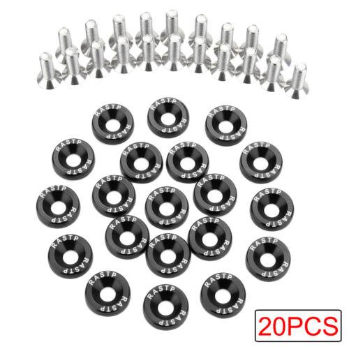 HOT 20x Quality Black CNC Billet Aluminum Fender Washer Engine Bay Dress Up Kit