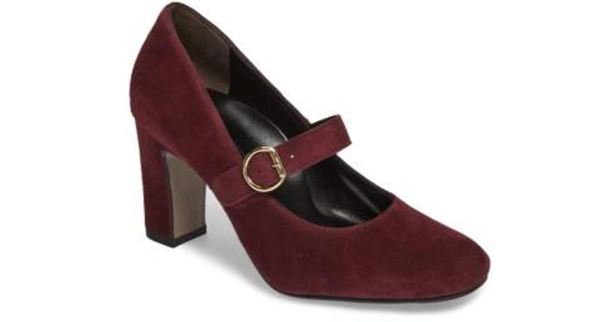 Paul Green Women's Mary Jane Pumps Suede Bordo Size 8.5 US Size 6 Paul Green