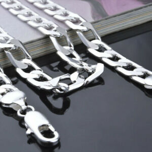 Hot-925-Sterling-Silver-Filled-Plated-Curb-Chain-necklace-16-034-18-034-20-034-22-034-24-034