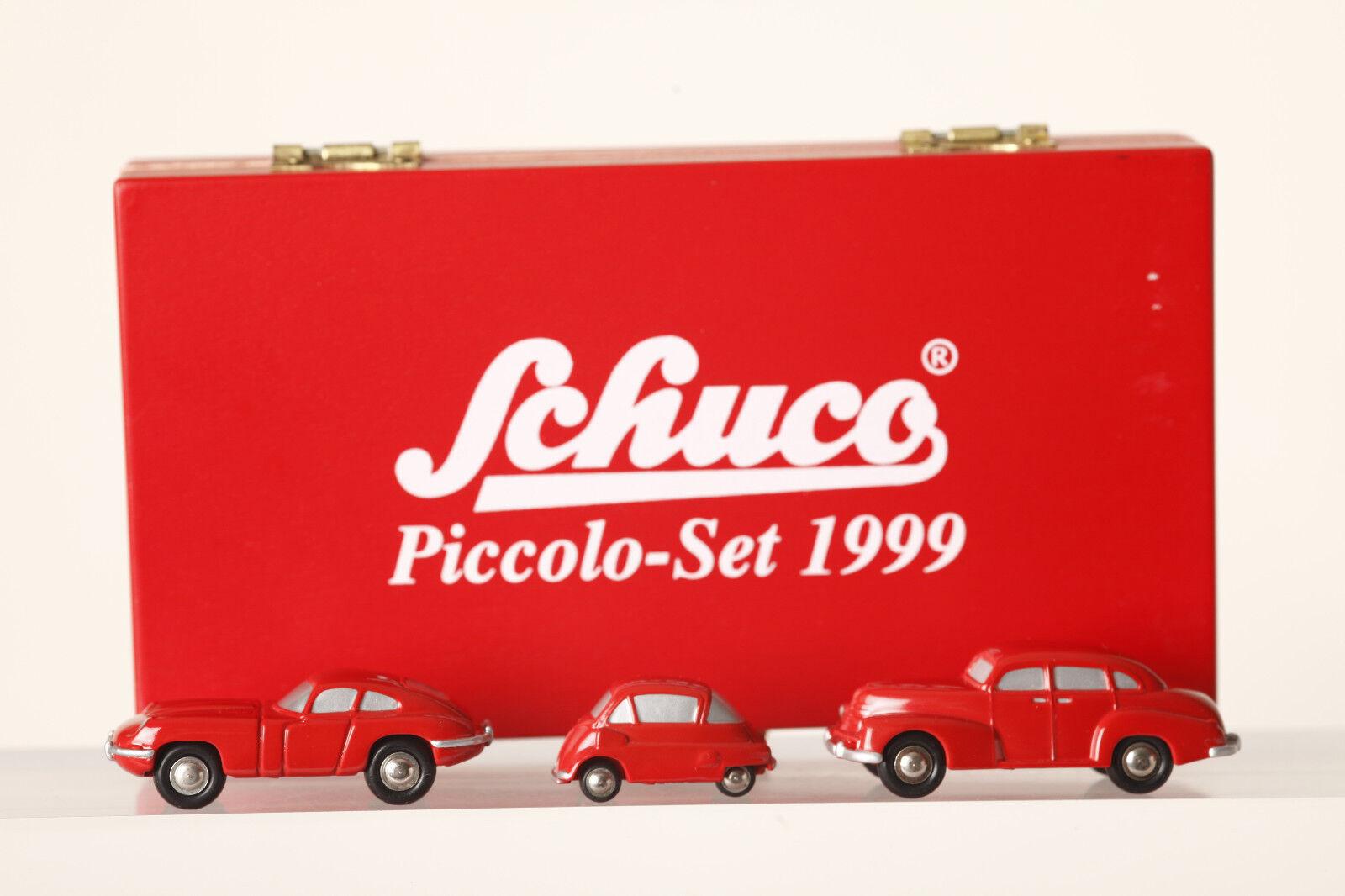 Schuco PICCOLO 3er-set 1999 Jaguar e Isetta OPEL Capitano tutti ROSSO (65038)