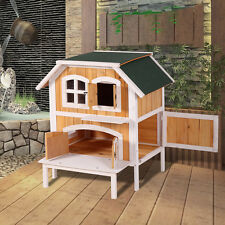 New Wooden Raised Elevated Cat Cottage Indoor Outdoor Pet House Bed Furniture