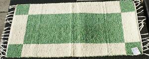Teppich-Badteppich-gewebt-034-Vierecke-034-natur-gruen-135-x-65-cm-Teppich-waschbar