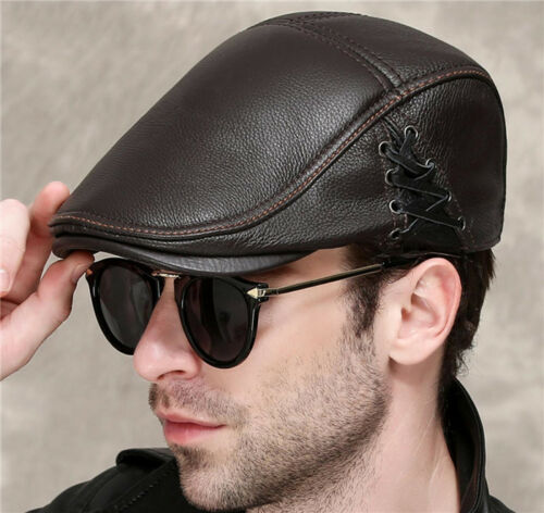 Men/'s Leisure Sheepskin Leather Cap Beret  Gentlemen Duckbill Cap Hat