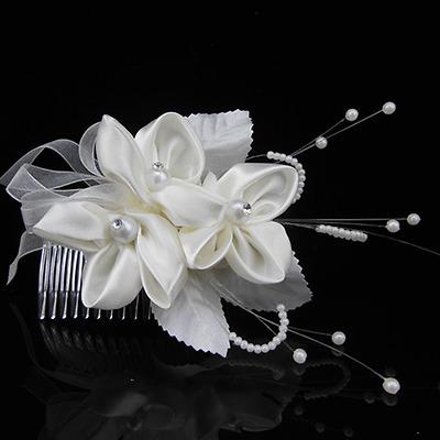 Tiara Haarschmuck Satin Blumen Blüten Blätter Strass Perlen Hochzeit Haargesteck